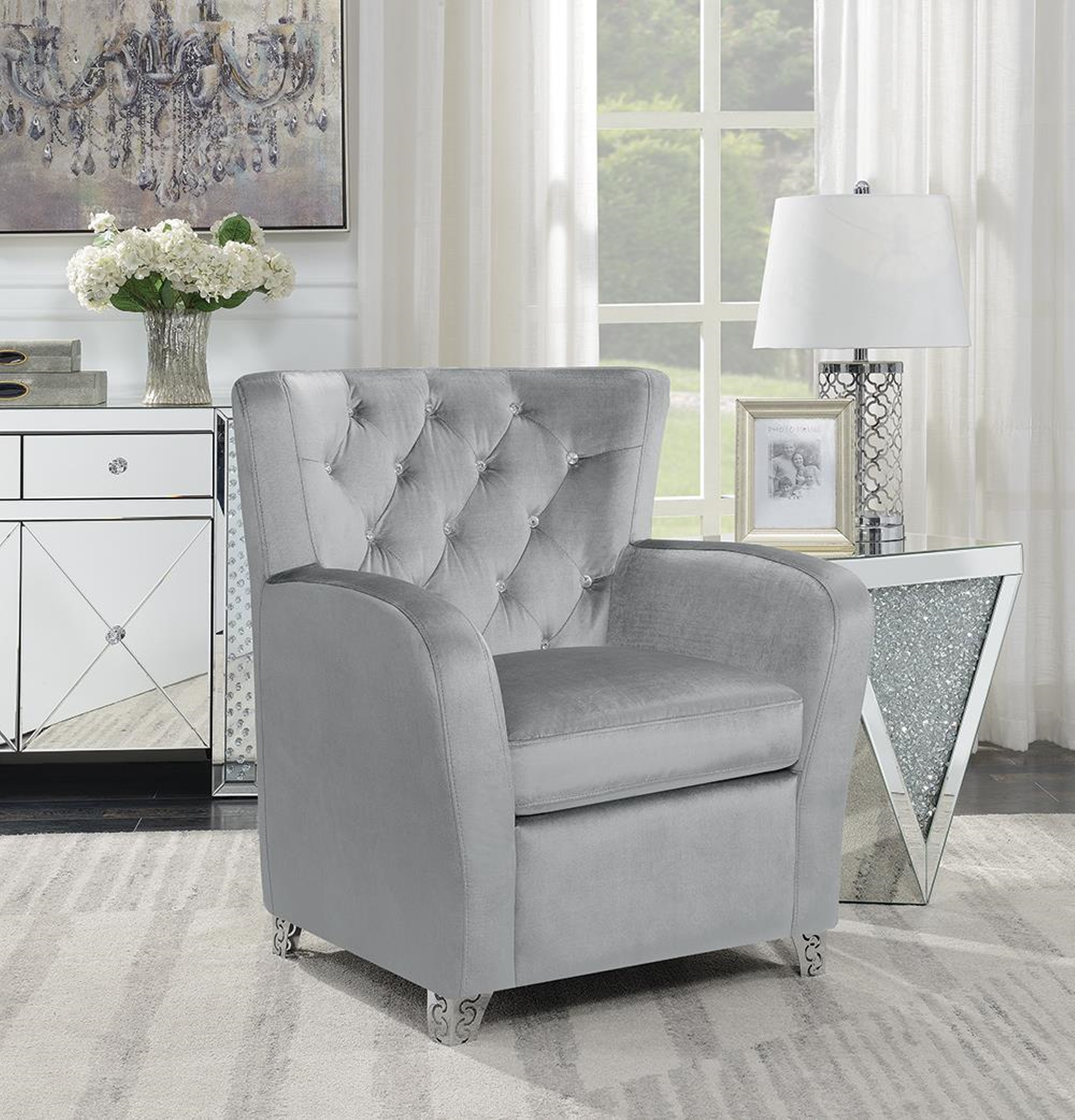 Contemporary Grey Accent Chair