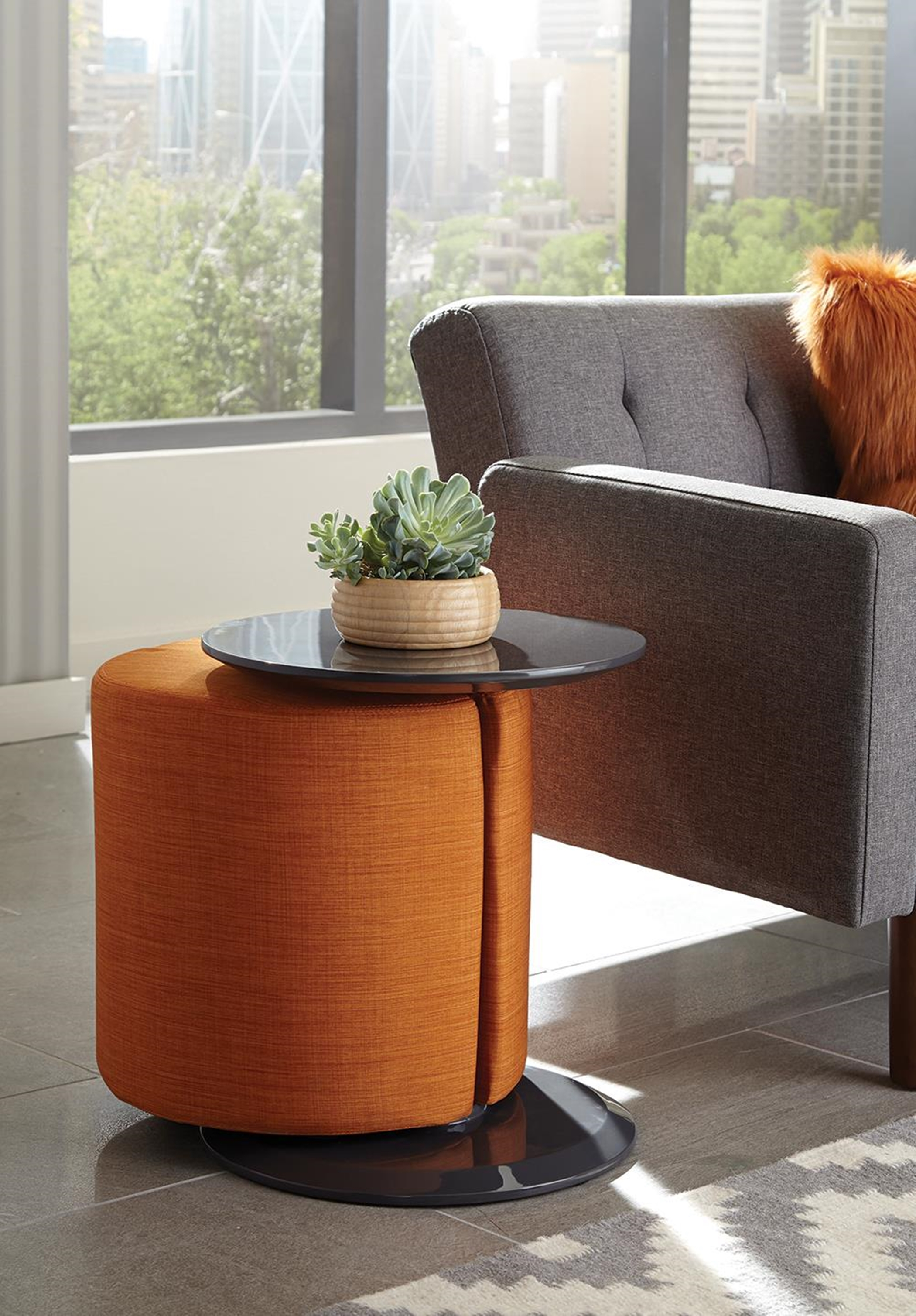 Orange and Grey Accent Table and Ottoman