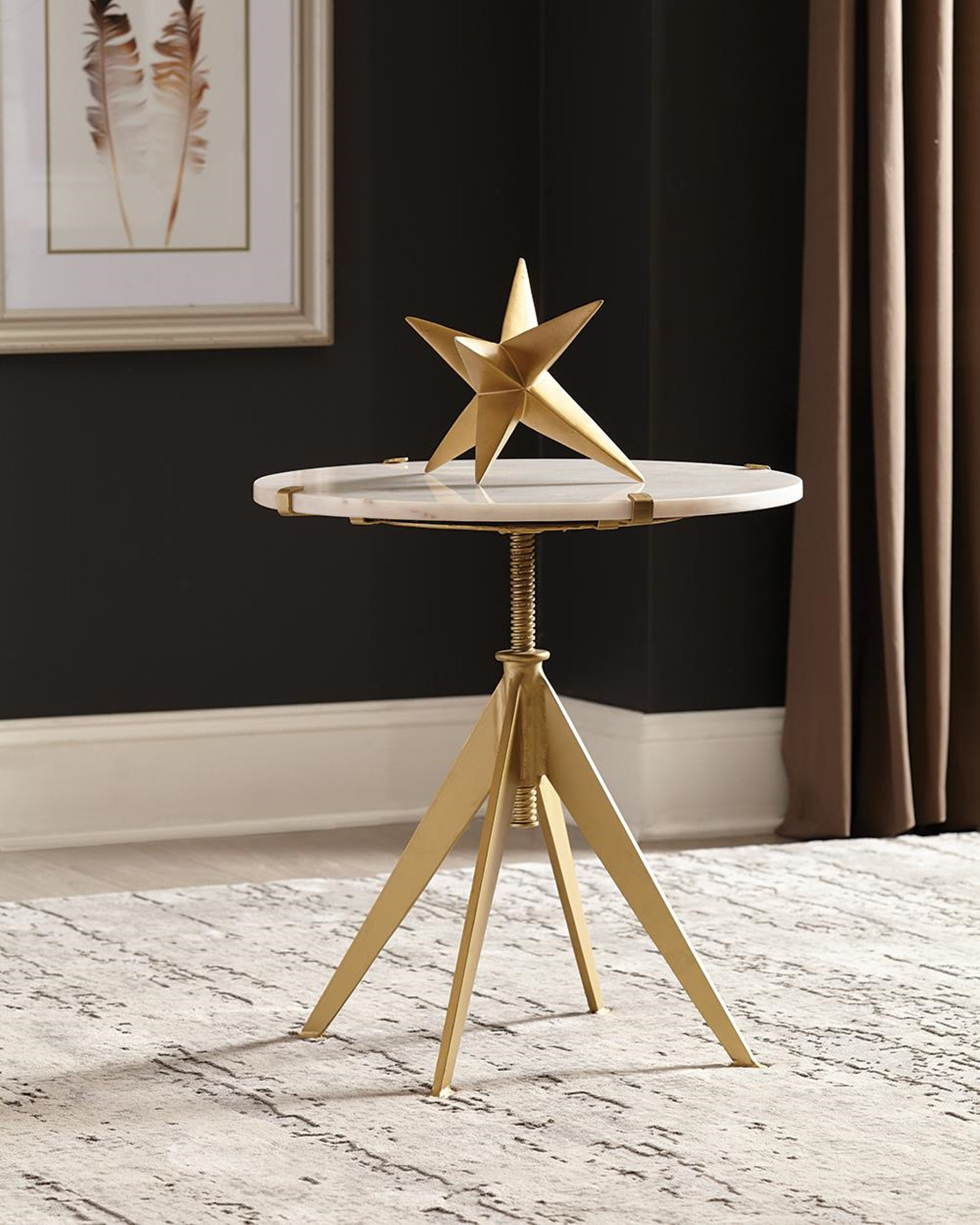 Modern White Marble and Brass Accent Table