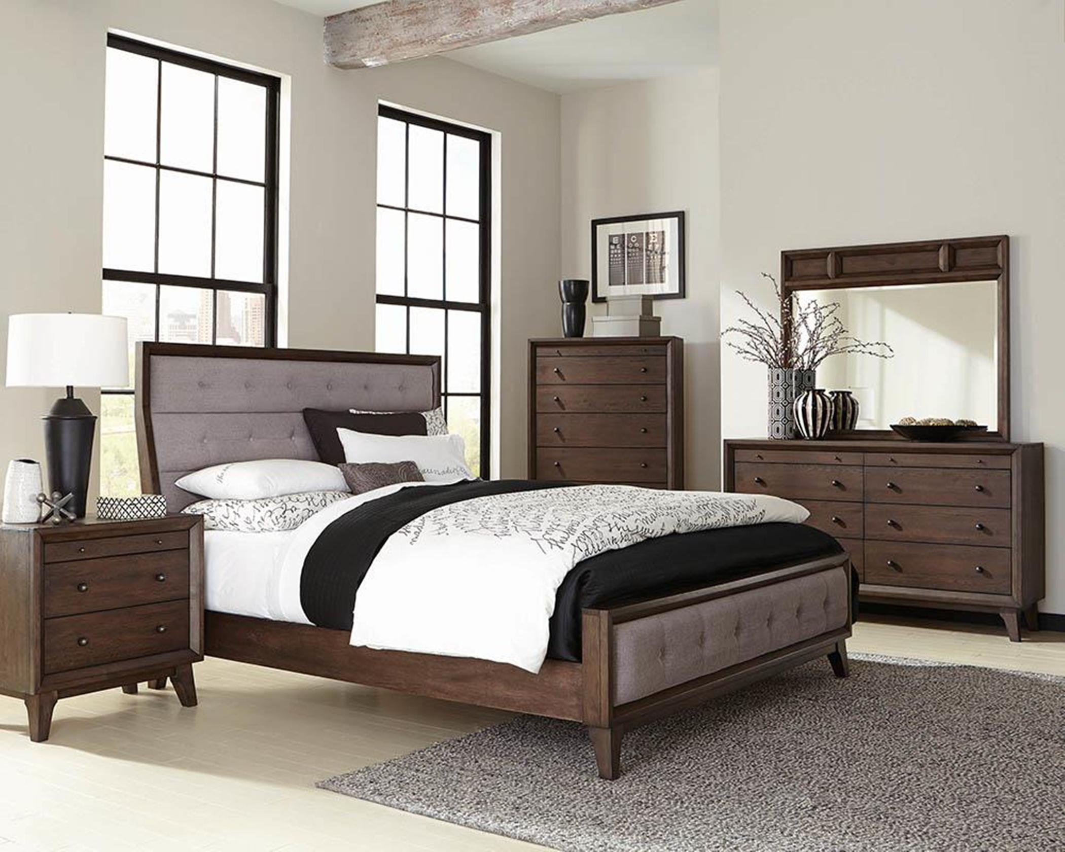 Bingham Retro-Modern Brown Queen Bed