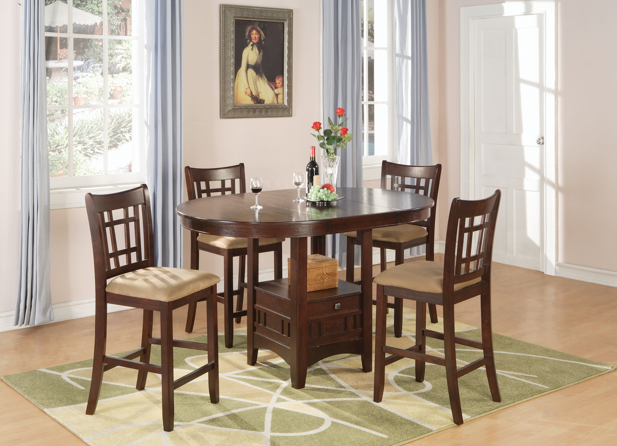 Lavon Warm Brown 5 Pc. Counter-Height Set