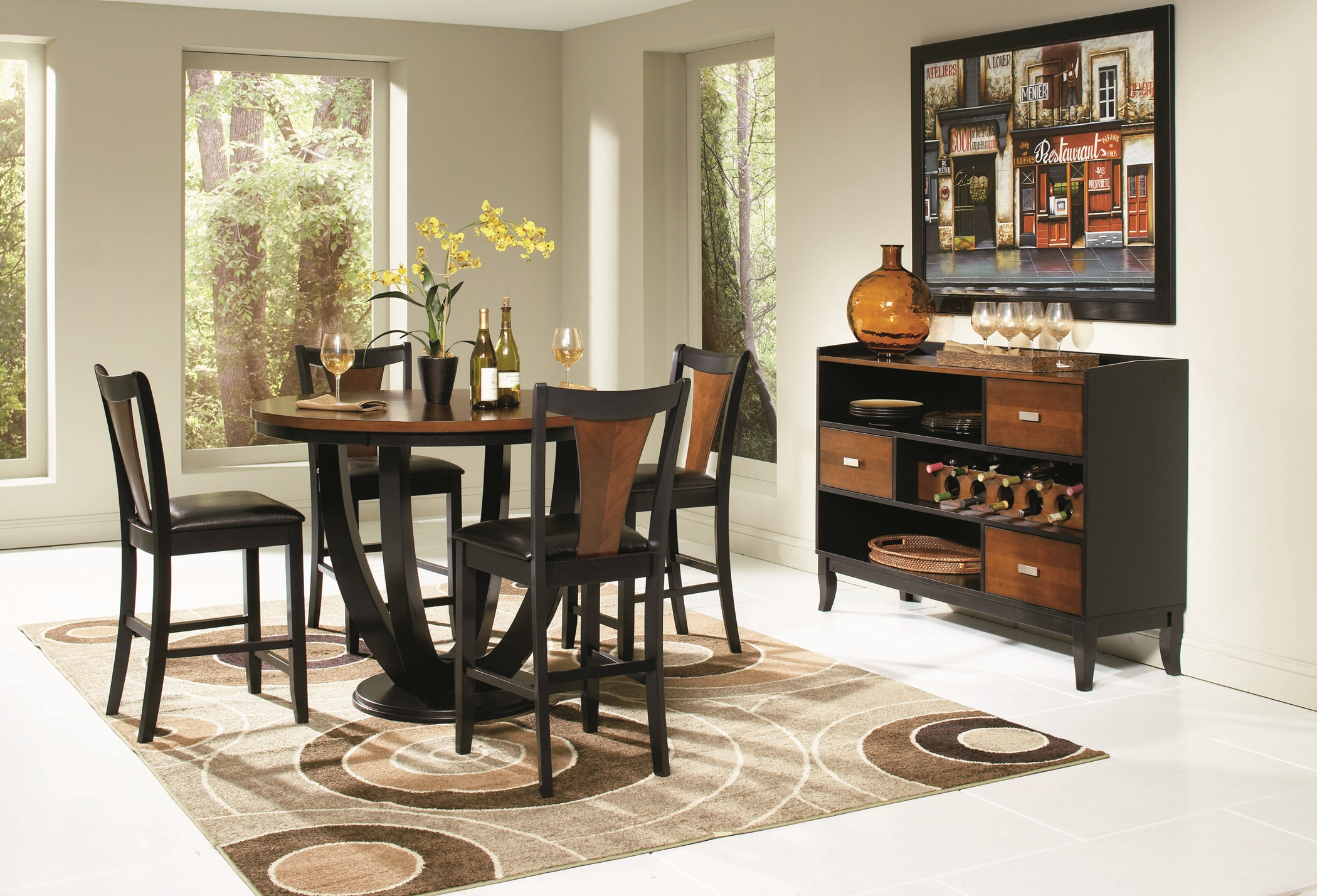 Boyer Amber and Black 5 Pc. Counter-Height Set