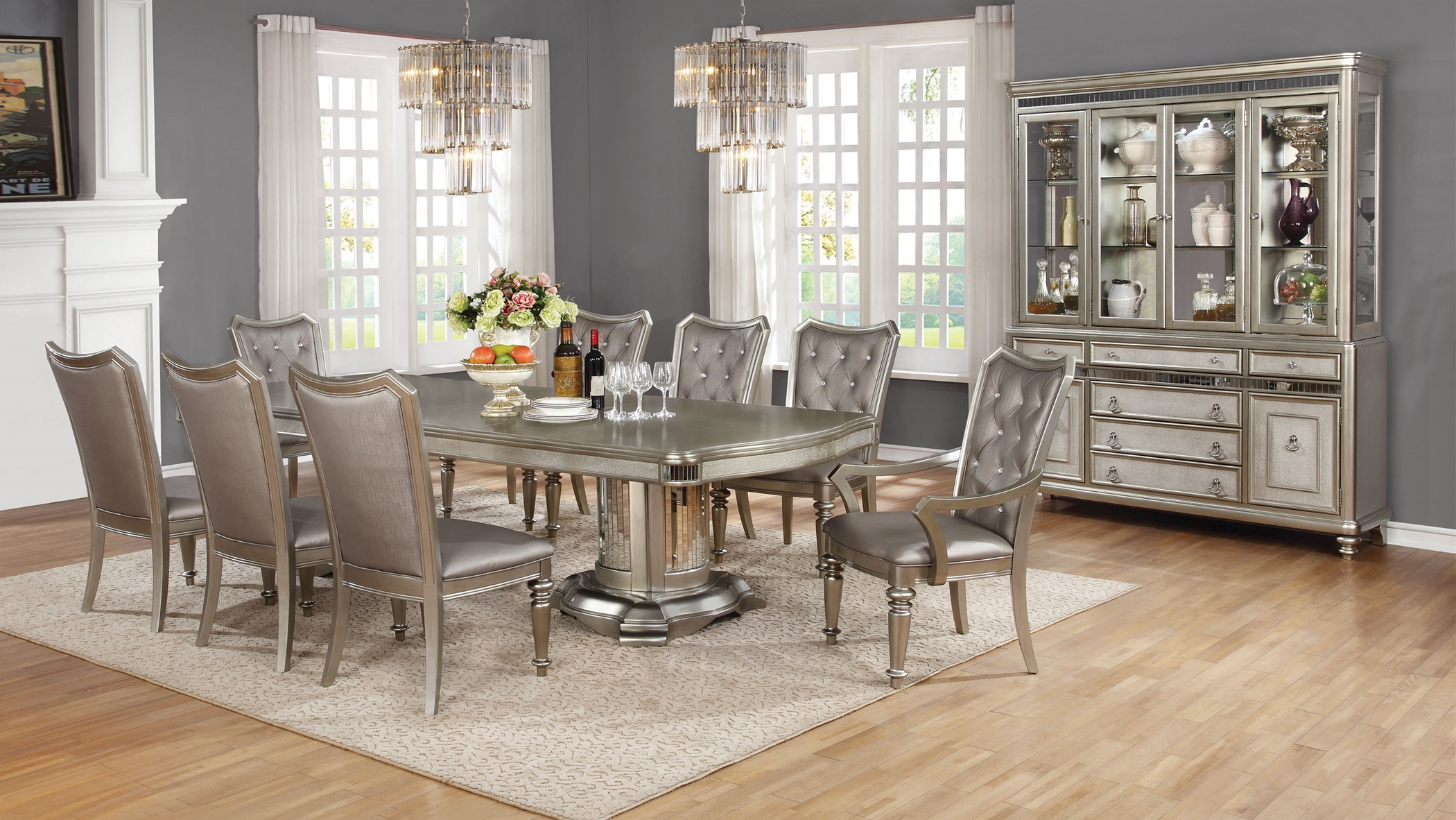 Danette Metallic 7 Pc. Double Pedestal Set