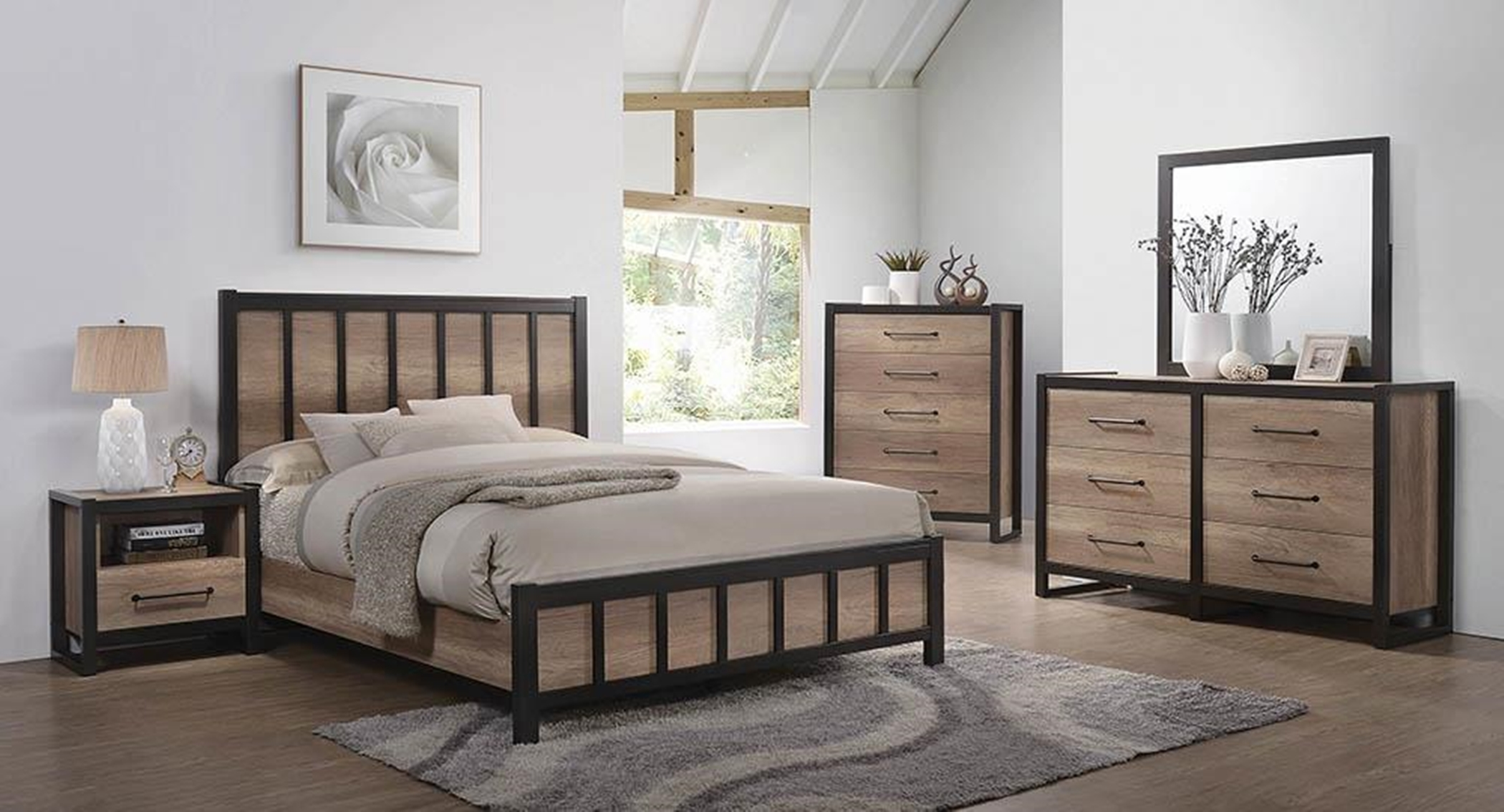Edgewater Weathered Oak E. King Bed