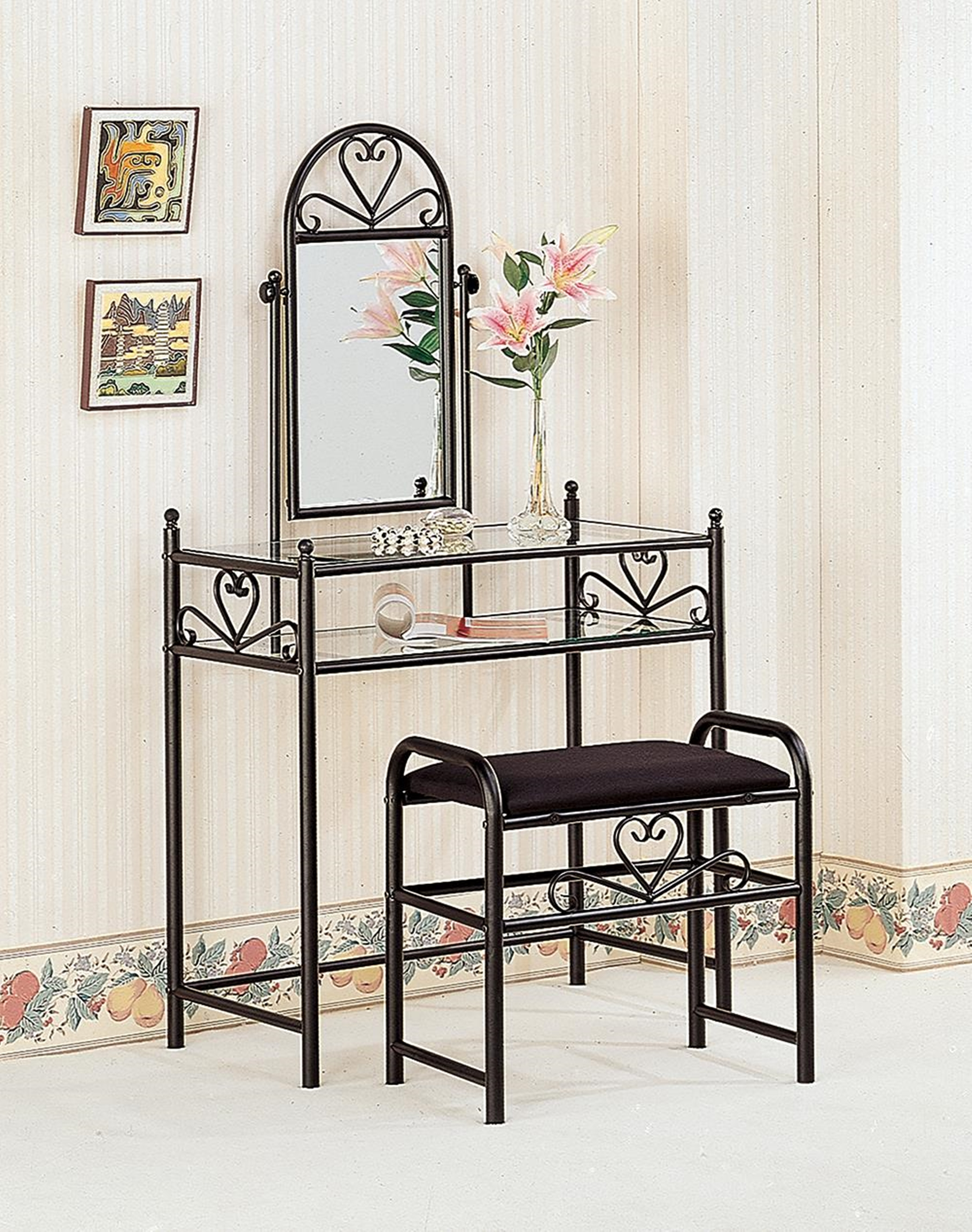 Black Vanity With Glass Top and Fabric Stool