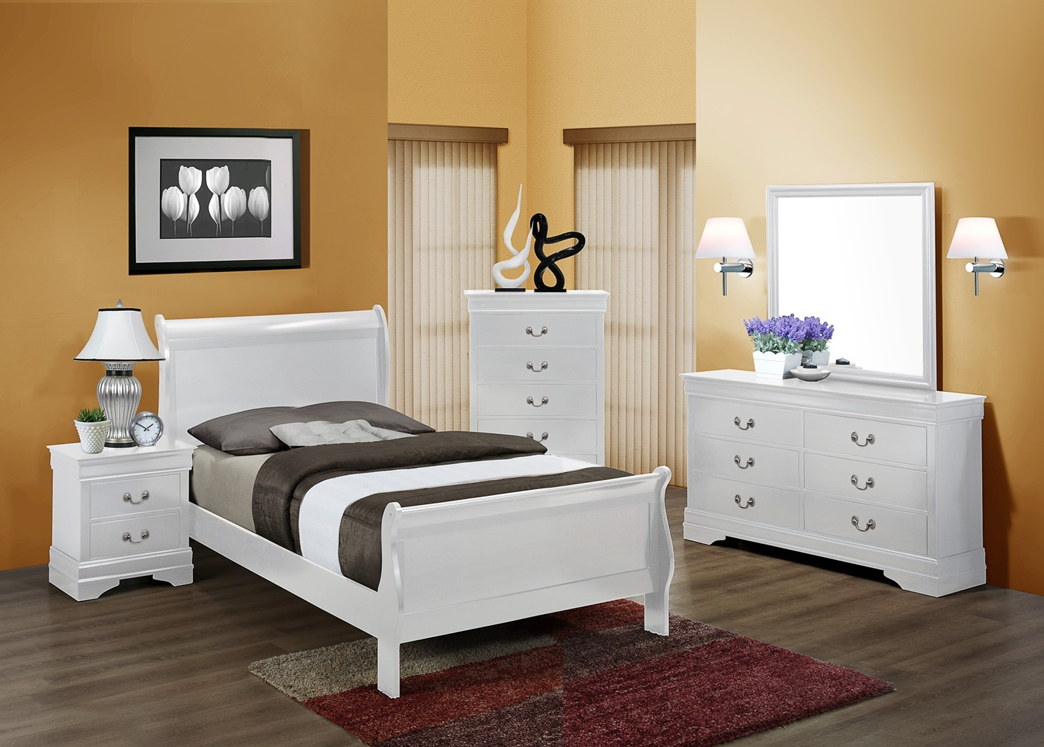 CM3600 White Louis Philippe Twin Bed